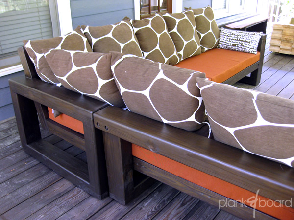 wood outdoor sectional. Rear View Of The Outdoor Sectional Couch, Finished In A Brazilnut Stain.\u003cbr Wood W