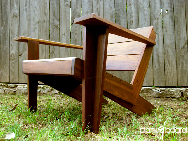 A Modern, Contemporary Take On The Classic Adirondack Chair In Basralocus,  A Brazilian Hardwood